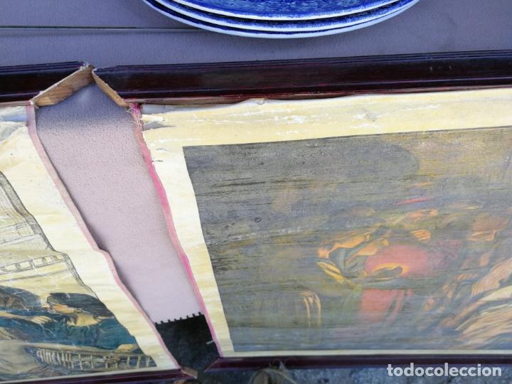 Arte: ANTIGUA LAMINA RELIGIOSA ENTELADA CON ESCENAS DE LA BIBLIA PINTOR C. SCHMAUK 91x66 cm, - Foto 5 - 164254002
