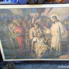 Arte: ANTIGUA LAMINA RELIGIOSA ENTELADA CON ESCENAS DE LA BIBLIA PINTOR C. SCHMAUK 91X66 CM,. Lote 164254002