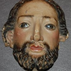 Arte: ROSTRO DE FIGURA RELIGIOSA EN MADERA TALLADA POLICROMADA DEL SIGLO XVIII. Lote 164295490
