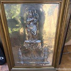 Arte: PRECIOSO CUADRO CON LA VIRGEN DEL PILAR EN METAL PLATEADO, FIRMADO. Lote 164536017