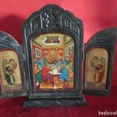 Arte: ICONO ORTODOXO RUSO EN MADERA PINTADO CON DORADO Y COLORES VIVOS. Lote 164590242