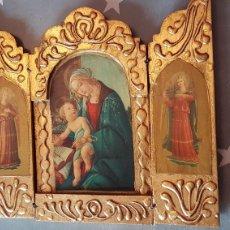 Art: TRÍPTICO RELIGIOSO CON IMAGEN DE VIRGEN CON NIÑO JESÚS Y ÁNGELES. MADERA Y PINTADO EN DORADO.. Lote 164733968