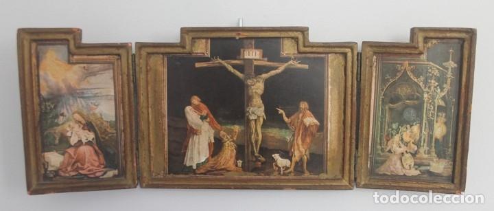 ANTIGUO TRIPTICO CRISTO EN LA CRUZ EN MADERA - ESCRITO PARTE TRASERA SOBRE PAPEL MUY DESGASTADO (Arte - Arte Religioso - Trípticos)