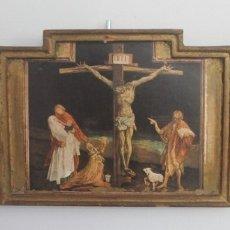 Arte: ANTIGUO TRIPTICO CRISTO EN LA CRUZ EN MADERA - ESCRITO PARTE TRASERA SOBRE PAPEL MUY DESGASTADO. Lote 164736178