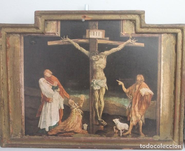Arte: ANTIGUO TRIPTICO CRISTO EN LA CRUZ EN MADERA - ESCRITO PARTE TRASERA SOBRE PAPEL MUY DESGASTADO - Foto 2 - 164736178