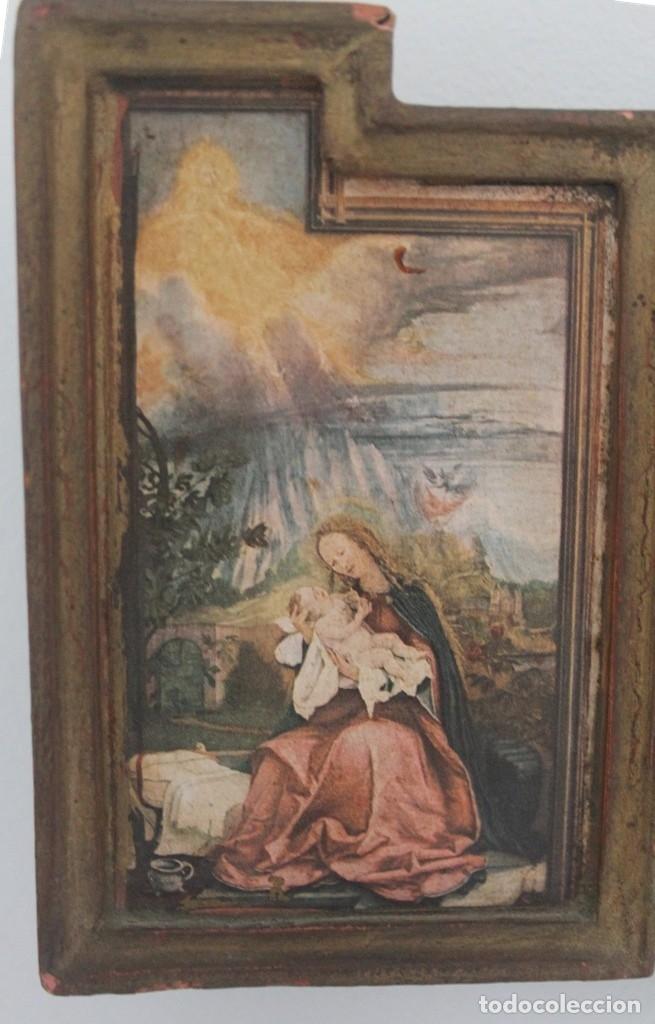 Arte: ANTIGUO TRIPTICO CRISTO EN LA CRUZ EN MADERA - ESCRITO PARTE TRASERA SOBRE PAPEL MUY DESGASTADO - Foto 3 - 164736178