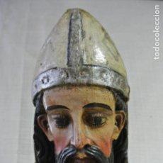 Arte: MUY ANTIGUA Y GRANDE TALLA DE MADERA. SAN AGUSTIN DE CANTERBURY. 96 CM ALTURA. ROMÁNICO. Lote 164775934