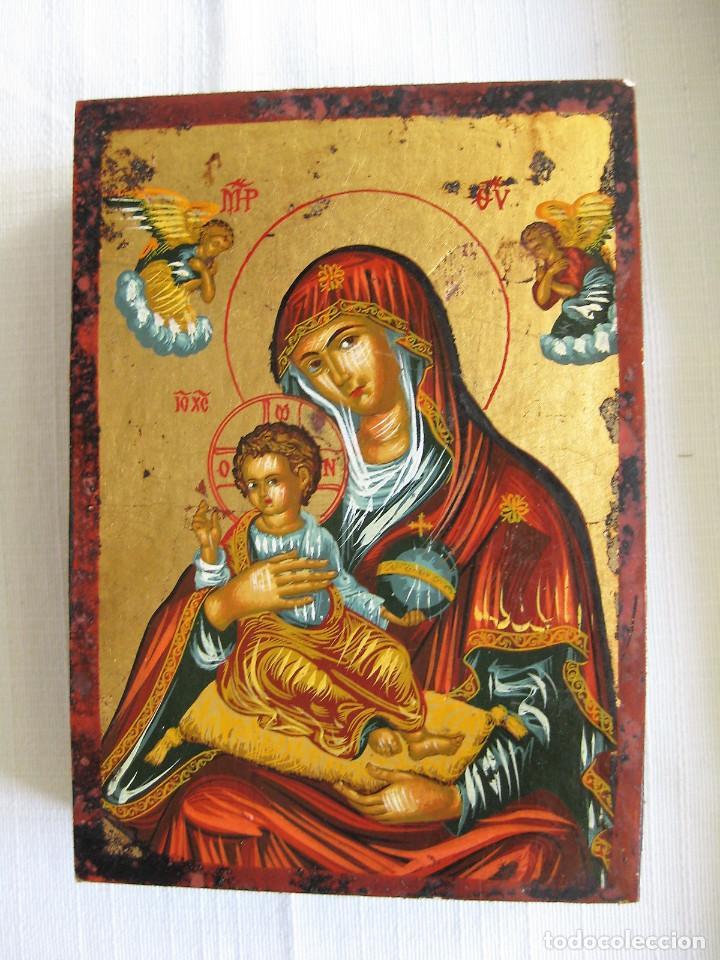 ICONO BIZANTINO HECHO A MANO CON CERTIFICADO LACRADO Y SELLADO SOBRE MADERA, REPRODUCIÓN DE ORIGINAL (Arte - Arte Religioso - Iconos)