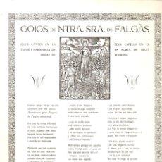 Arte: GOIGS A NTRA. SRA. DE FALGAS (POBLA DE LILLET, 1973) . Lote 164813958