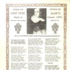 Arte: GOIGS EN HONOR DE SANT PERE ALMATO, MÀRTIR A TONKIN (1991) . Lote 164814226
