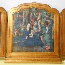Arte: TRIPTICO ANTIGUO MADERA,.ADORACION AL NIÑO JESUS. 37 X 65. Lote 164868590