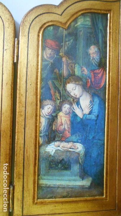 Arte: TRIPTICO ANTIGUO MADERA,.ADORACION AL NIÑO JESUS. 37 X 65 - Foto 4 - 164868590