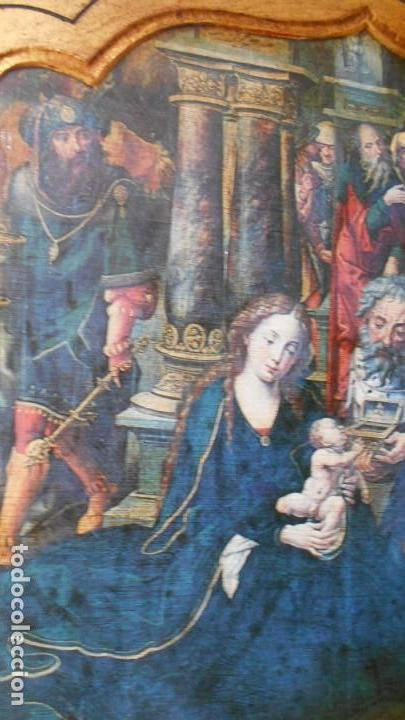 Arte: TRIPTICO ANTIGUO MADERA,.ADORACION AL NIÑO JESUS. 37 X 65 - Foto 5 - 164868590
