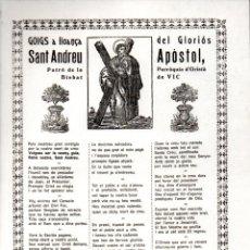 Arte: GOIGS AL GLORIÓS SANT ANDREU APÓSTOL - ORISTÀ (VICH, IMP. ANGLADA S.F.). Lote 164883158