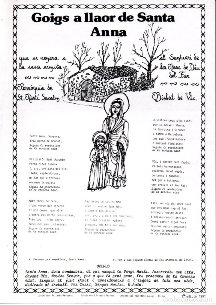 GOIGS A LLAOR DE SANTA ANNA - EL FAR, ST. MARTÍ SACALM (1991) (Arte - Arte Religioso - Grabados)