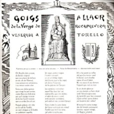 Arte: GOIGS A LA VERGE DE ROCAPREVERA - TORELLÓ (IMP. SELLARES, S.F.). Lote 164888838