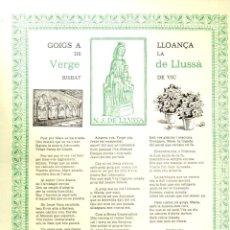 Arte: GOIGS A LLOANÇA DE LA VERGE DE LLUSSÀ - VIC (IMP. AUSETANA, 1991). Lote 164888950