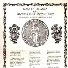 Arte: GOIGS DE SANT ANTONI ABAT - TEIÀ (1973). Lote 164892402