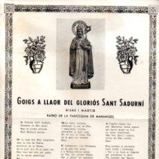 Arte: GOIGS DE SANT SADURNÍ, MARANGES (S.F.). Lote 164893334