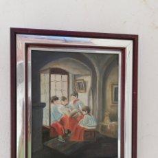 Arte: CUADRO RELIGIOSO FIRMADO PINTURA A MANO SOBRE TABLA DE MONAGUILLOS LEYENDO EN LA IGLESIA. Lote 164916285