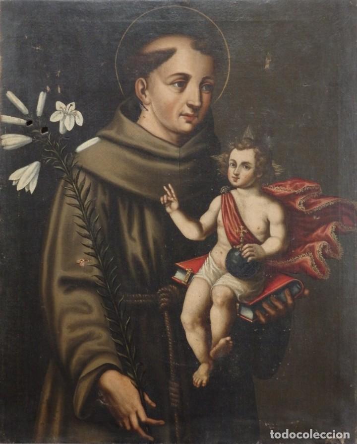 SAN ANTONIO DE PADUA CON EL NIÑO JESÚS. ÓLEO SOBRE LIENZO DE TAMAÑO NATURAL. SIGLOS XVII-XVIII. (Arte - Arte Religioso - Pintura Religiosa - Oleo)