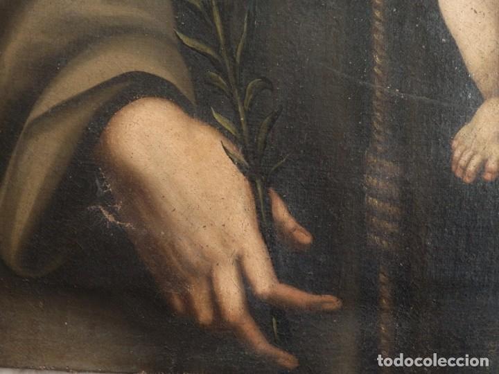 Arte: San Antonio de Padua con el Niño Jesús. Óleo sobre lienzo de tamaño natural. Siglos XVII-XVIII. - Foto 4 - 164979550