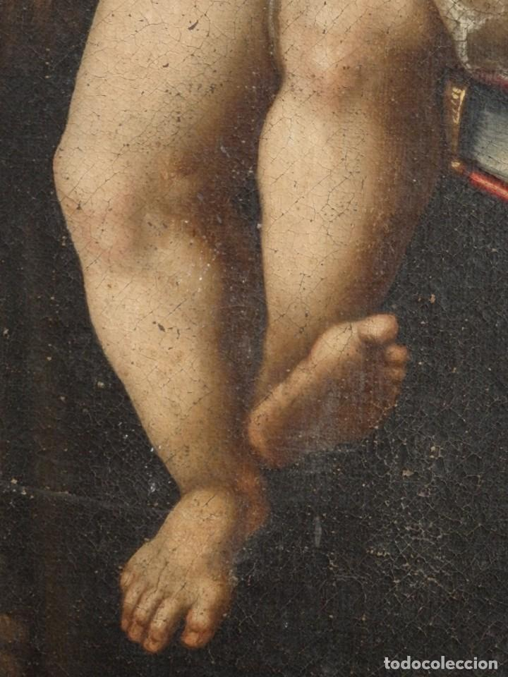 Arte: San Antonio de Padua con el Niño Jesús. Óleo sobre lienzo de tamaño natural. Siglos XVII-XVIII. - Foto 5 - 164979550