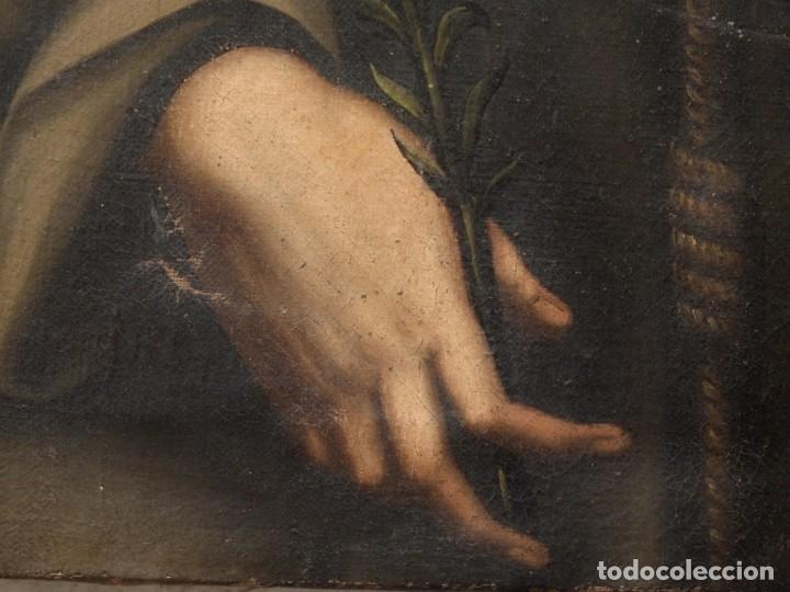 Arte: San Antonio de Padua con el Niño Jesús. Óleo sobre lienzo de tamaño natural. Siglos XVII-XVIII. - Foto 6 - 164979550