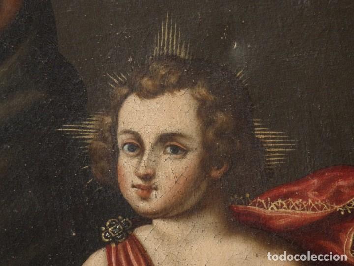 Arte: San Antonio de Padua con el Niño Jesús. Óleo sobre lienzo de tamaño natural. Siglos XVII-XVIII. - Foto 7 - 164979550