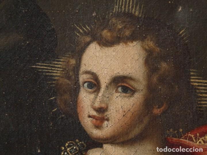 Arte: San Antonio de Padua con el Niño Jesús. Óleo sobre lienzo de tamaño natural. Siglos XVII-XVIII. - Foto 8 - 164979550