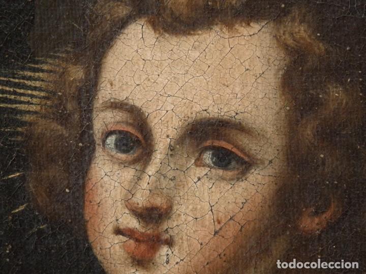 Arte: San Antonio de Padua con el Niño Jesús. Óleo sobre lienzo de tamaño natural. Siglos XVII-XVIII. - Foto 10 - 164979550