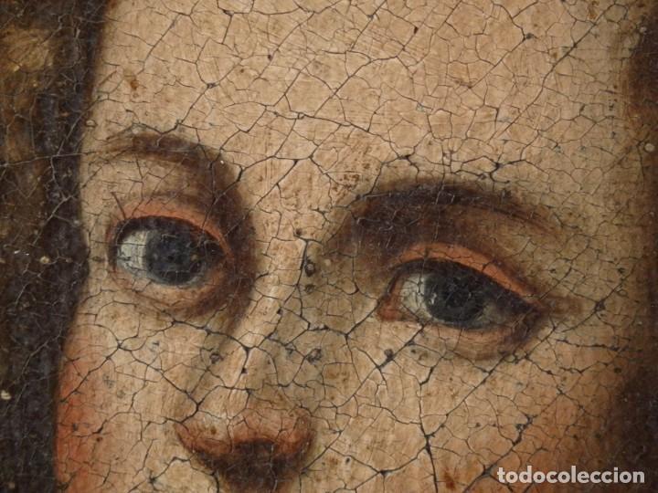 Arte: San Antonio de Padua con el Niño Jesús. Óleo sobre lienzo de tamaño natural. Siglos XVII-XVIII. - Foto 11 - 164979550