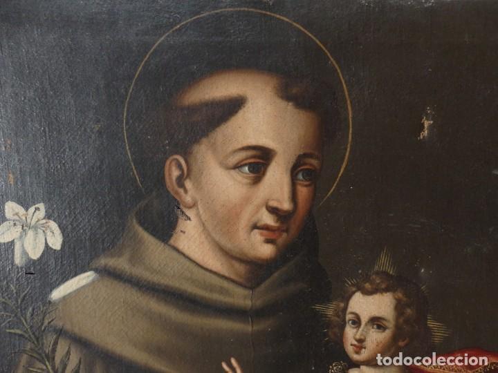 Arte: San Antonio de Padua con el Niño Jesús. Óleo sobre lienzo de tamaño natural. Siglos XVII-XVIII. - Foto 12 - 164979550