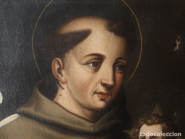 Arte: San Antonio de Padua con el Niño Jesús. Óleo sobre lienzo de tamaño natural. Siglos XVII-XVIII. - Foto 13 - 164979550