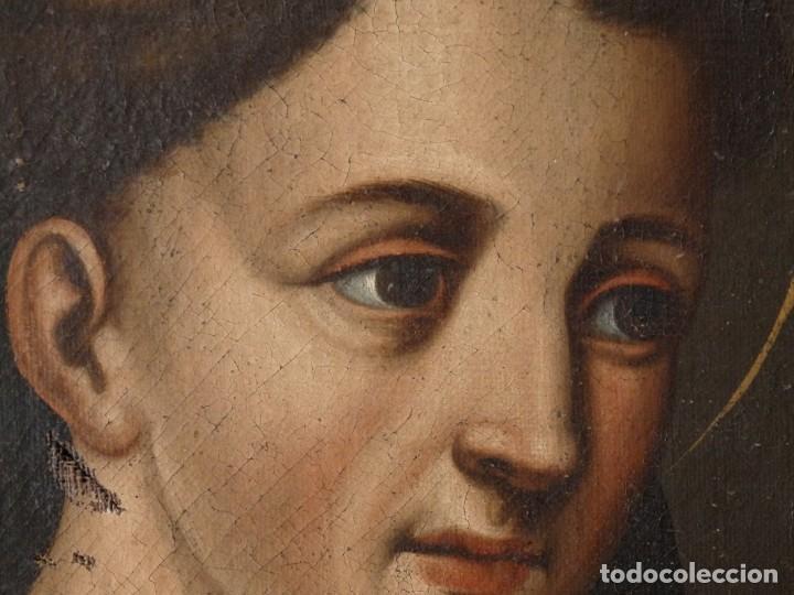 Arte: San Antonio de Padua con el Niño Jesús. Óleo sobre lienzo de tamaño natural. Siglos XVII-XVIII. - Foto 15 - 164979550
