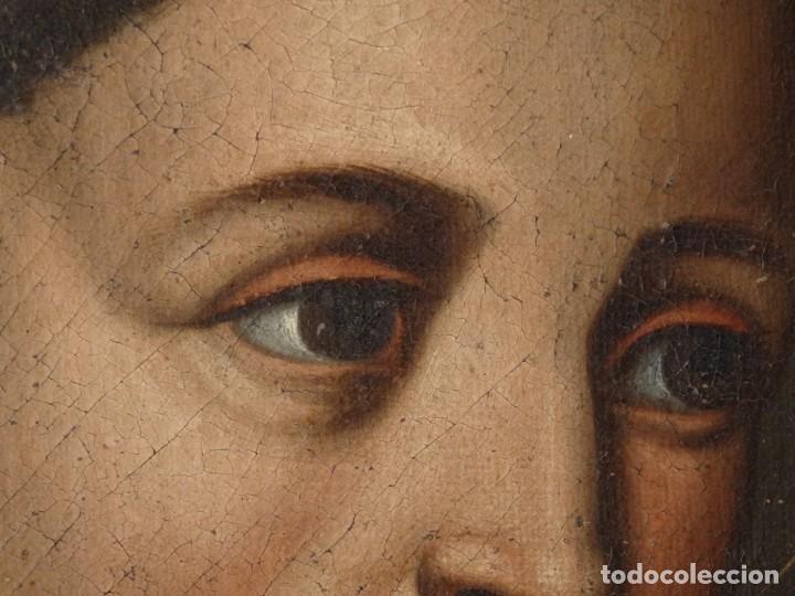 Arte: San Antonio de Padua con el Niño Jesús. Óleo sobre lienzo de tamaño natural. Siglos XVII-XVIII. - Foto 16 - 164979550