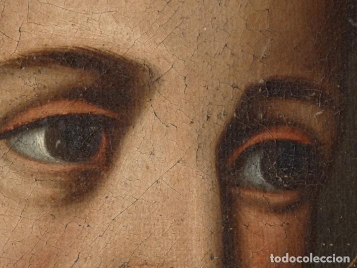 Arte: San Antonio de Padua con el Niño Jesús. Óleo sobre lienzo de tamaño natural. Siglos XVII-XVIII. - Foto 17 - 164979550