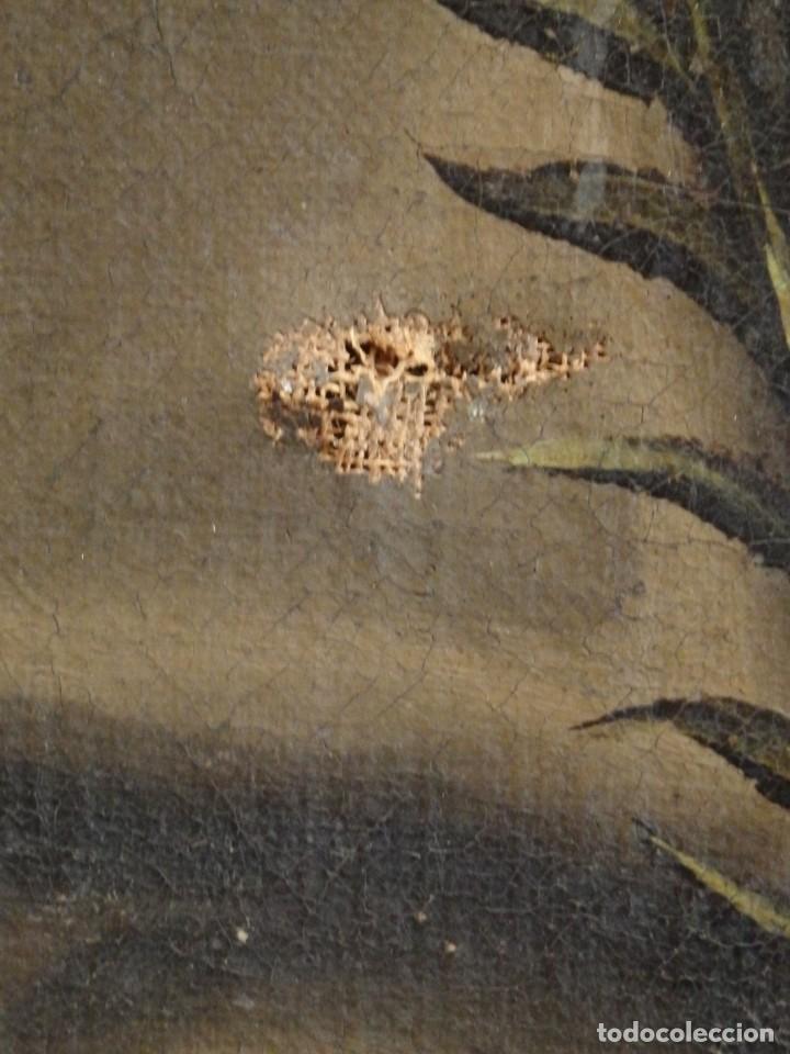 Arte: San Antonio de Padua con el Niño Jesús. Óleo sobre lienzo de tamaño natural. Siglos XVII-XVIII. - Foto 19 - 164979550