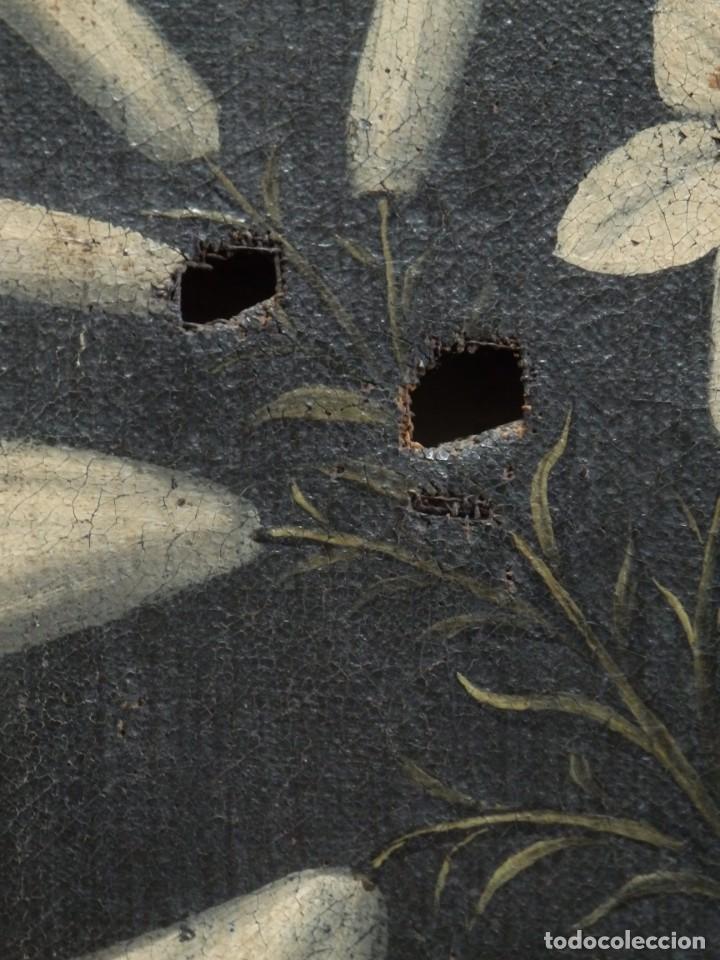 Arte: San Antonio de Padua con el Niño Jesús. Óleo sobre lienzo de tamaño natural. Siglos XVII-XVIII. - Foto 20 - 164979550