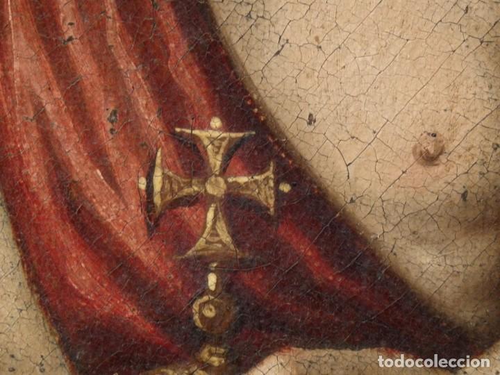 Arte: San Antonio de Padua con el Niño Jesús. Óleo sobre lienzo de tamaño natural. Siglos XVII-XVIII. - Foto 24 - 164979550