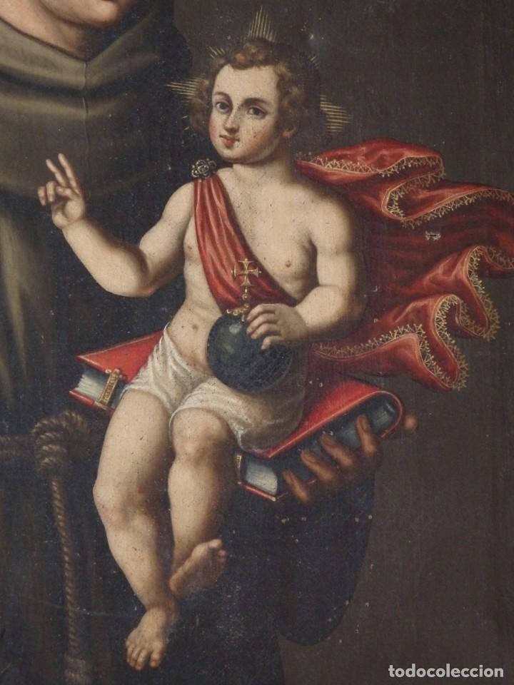Arte: San Antonio de Padua con el Niño Jesús. Óleo sobre lienzo de tamaño natural. Siglos XVII-XVIII. - Foto 25 - 164979550