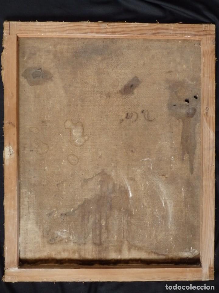Arte: San Antonio de Padua con el Niño Jesús. Óleo sobre lienzo de tamaño natural. Siglos XVII-XVIII. - Foto 27 - 164979550