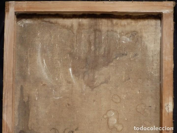 Arte: San Antonio de Padua con el Niño Jesús. Óleo sobre lienzo de tamaño natural. Siglos XVII-XVIII. - Foto 28 - 164979550