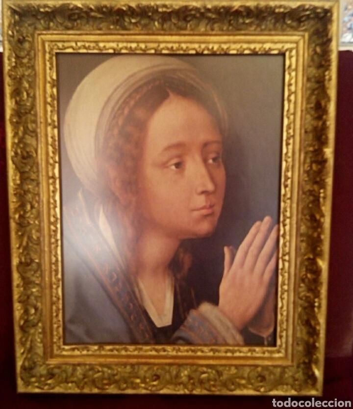 VIRGEN MARIA EN ORACION - MARCO EN MADERA TALLADA EN CORNUCOPIA Y PAN DE ORO (Arte - Arte Religioso - Retablos)