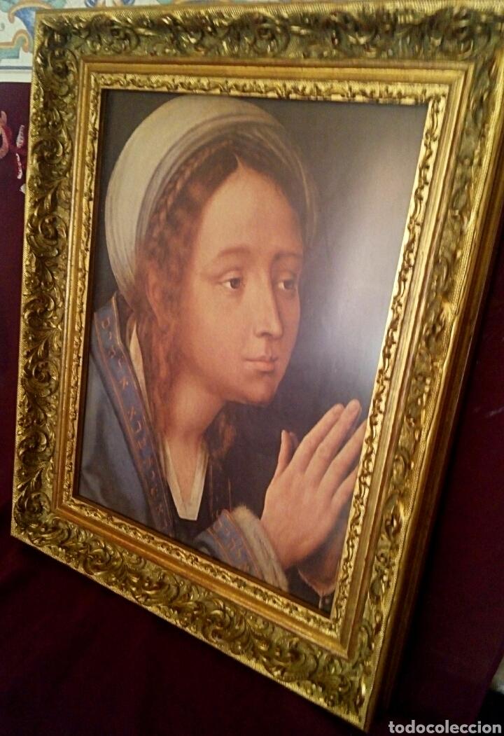 Arte: VIRGEN MARIA EN ORACION - MARCO EN MADERA TALLADA EN CORNUCOPIA Y PAN DE ORO - Foto 2 - 165060325