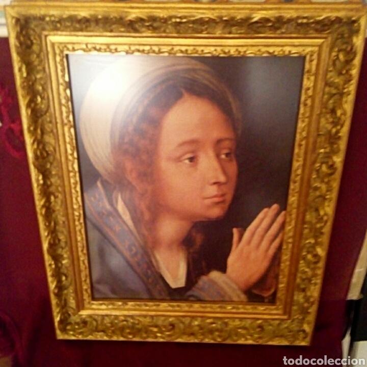 Arte: VIRGEN MARIA EN ORACION - MARCO EN MADERA TALLADA EN CORNUCOPIA Y PAN DE ORO - Foto 4 - 165060325