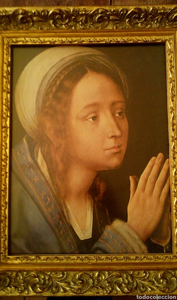 Arte: VIRGEN MARIA EN ORACION - MARCO EN MADERA TALLADA EN CORNUCOPIA Y PAN DE ORO - Foto 6 - 165060325