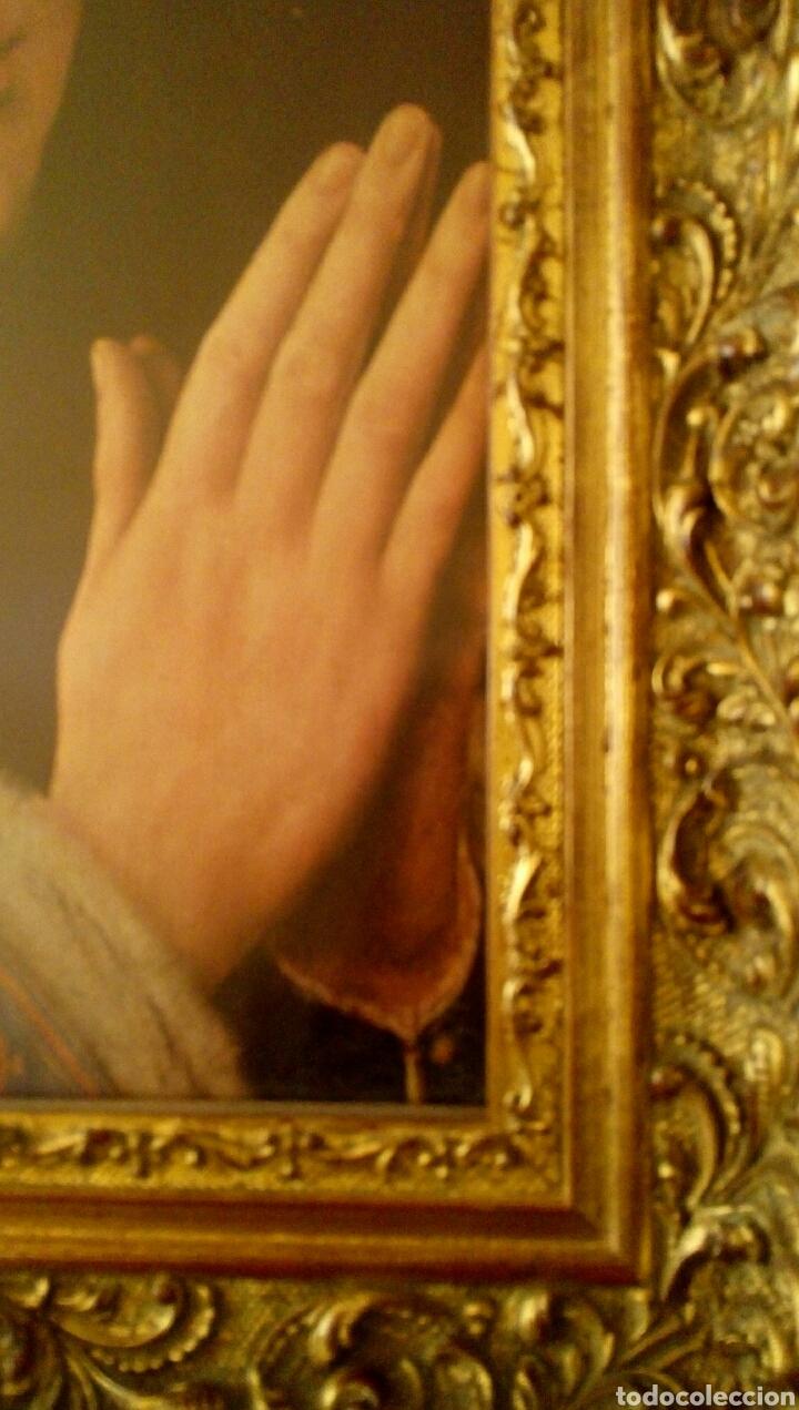 Arte: VIRGEN MARIA EN ORACION - MARCO EN MADERA TALLADA EN CORNUCOPIA Y PAN DE ORO - Foto 11 - 165060325