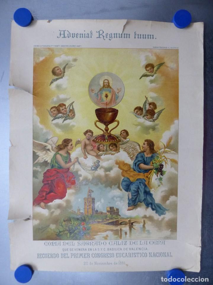 COPIA DEL SAGRADO CALIZ DE LA CENA, BASILICA DE VALENCIA - AÑO 1893, LITOGRAFIA VIUDA DE P. MARTI (Arte - Arte Religioso - Litografías)