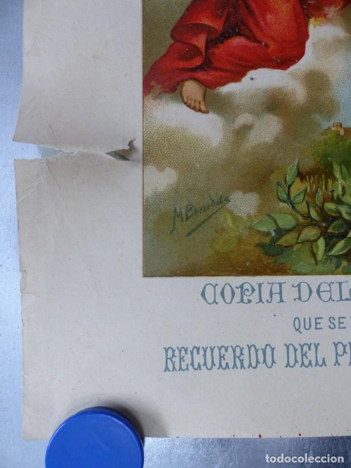 Arte: COPIA DEL SAGRADO CALIZ DE LA CENA, BASILICA DE VALENCIA - AÑO 1893, LITOGRAFIA VIUDA DE P. MARTI - Foto 3 - 165072302